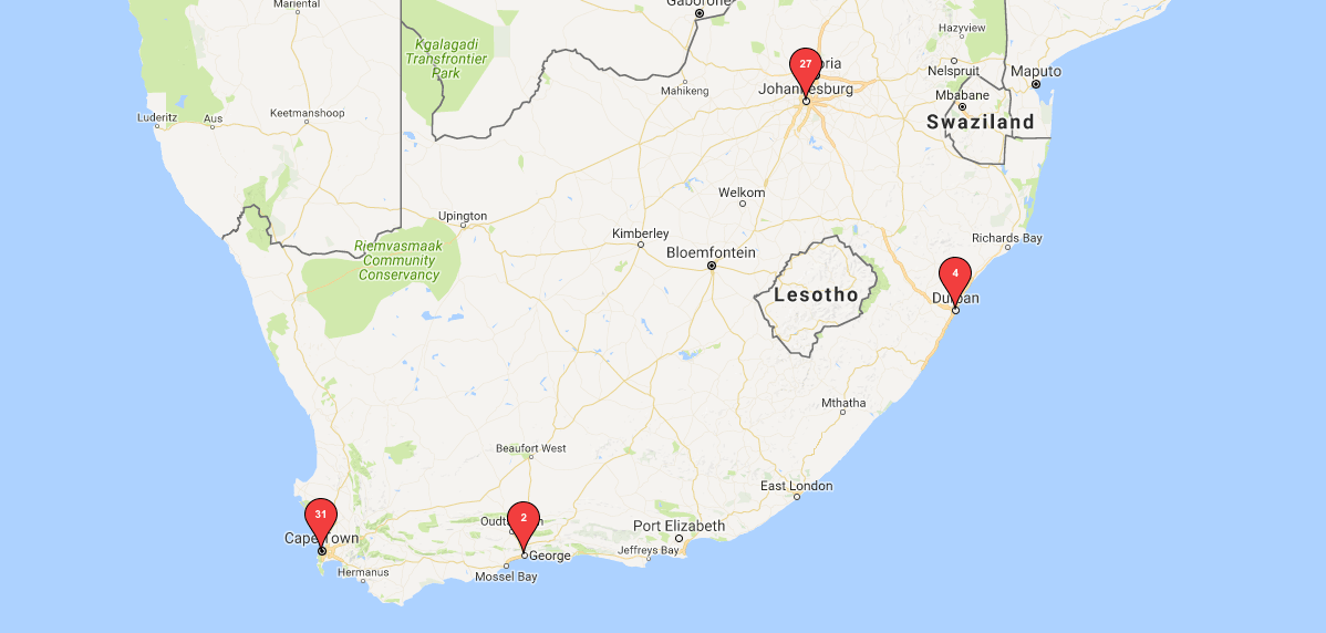 South Africa Creators Cluster Map